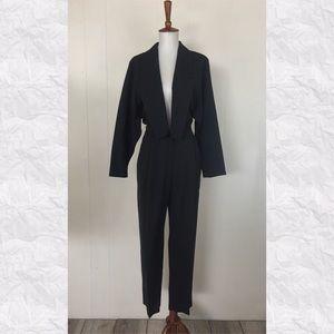 Vintage Tuxedo Style V-Neck Long Sleeve Jumpsuit